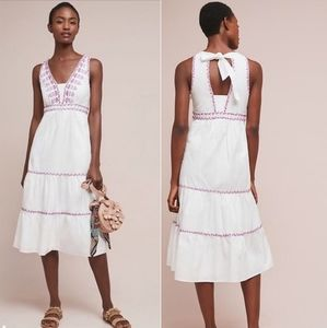 Anthro Akemi + Kin White Embroidered Dress LG